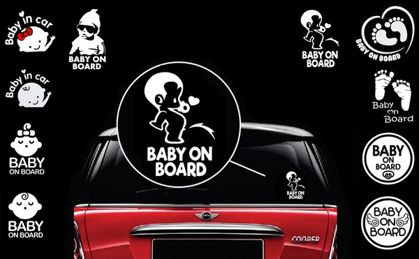 Baby on Board Stickers and Magnets - Funny Cute Safety Caution Decal Sign for Cars Windows and Bumpers