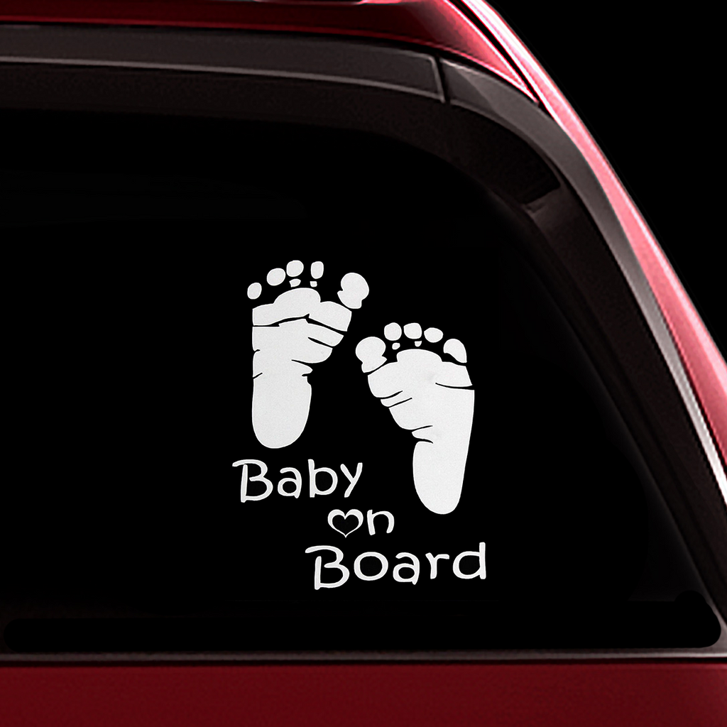 Footprint Baby on Board Sticker - Funny Cute Safety Caution Decal Sign for Cars Windows and Bumpers