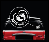 Footprint in Heart Baby on Board Sticker - Funny Cute Safety Caution Decal Sign for Cars Windows and Bumpers