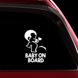 Peeing Boy Baby on Board Sticker - Funny Cute Safety Caution Decal Sign for Cars Windows and Bumpers