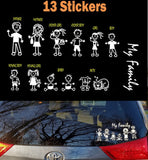 13 Stick Figures Collection #2 Value Package My Family Car Window Decal Stickers