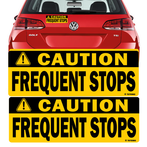 "Caution Frequent Stops Magnet Sticker (Set of 2) 10""X3.5"" Highly Reflective Car Safety Caution Sign"