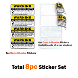 "(Set of 8) Anti-Theft Car Vehicle Stickers with GPS Tracking Warning - 3"" x 1.5"" Self Adhesive Sign (4pc Front Adhesive + 4pc Back Adhesive Stickers)"