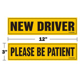 "New Driver Please be Patient Magnet Sticker - 12""x3"" Highly Reflective Car Safety Caution Sign for New and Student Drivers"