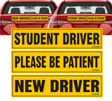 "Student Driver New Driver Please be Patient Magnet Sticker - 12""x3"" Highly Reflective Car Safety Caution Sign"