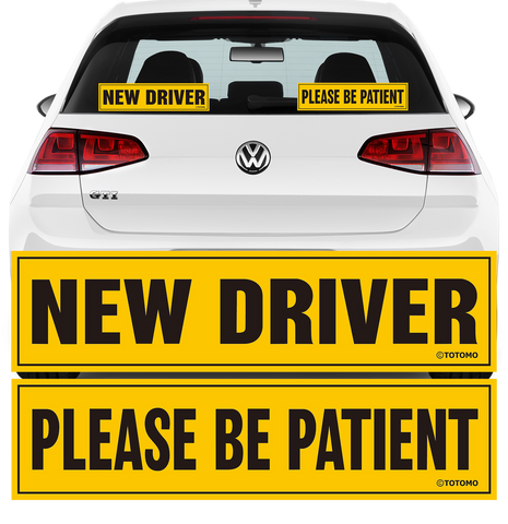 "New Driver Please be Patient Adhesive Sticker - 12""x3"" Highly Reflective Car Safety Caution Sign for New and Student Drivers (2 Adhesive Sticker Set)"