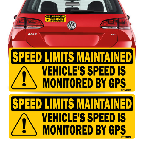 "Vehicle Speed is monitored by GPS Speed limits are maintained sticker 10""x3.5"" Highly Reflective Car Safety Caution Sign"