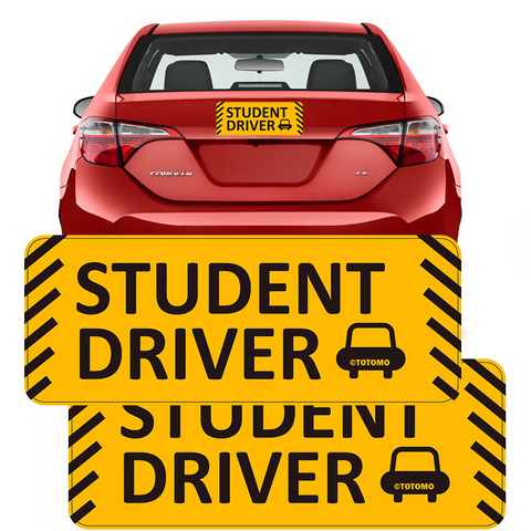 "Student Driver Magnet Sticker - (Set of 2) 10""x4"" Highly Reflective Car Safety Caution Sign Student Drivers"