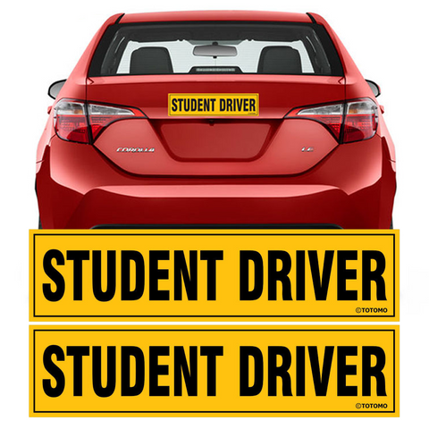 "Student Driver Magnet Sticker - (Set of 2) 12""x3"" Highly Reflective Car Safety Caution Sign Student Drivers"