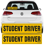 "Student Driver Adhesive Sticker 12""x3"" Highly Reflective Car Safety Caution Sign for New Student Drivers (2 Sticker Set)"