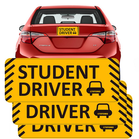 "Student Driver Magnet Sticker - (Set of 3) 10""x4"" Highly Reflective Car Safety Caution Sign Student Drivers"