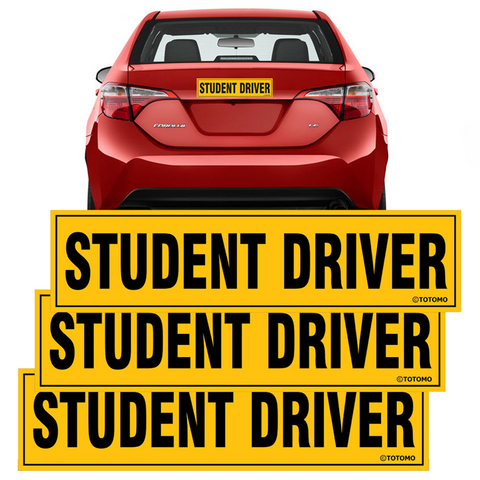 "Student Driver Magnet Sticker - (Set of 3) 12""x3"" Highly Reflective Car Safety Caution Sign Student Drivers"