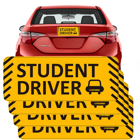 "Student Driver Magnet Sticker - (Set of 4) 10""x4"" Highly Reflective Car Safety Caution Sign Student Drivers"