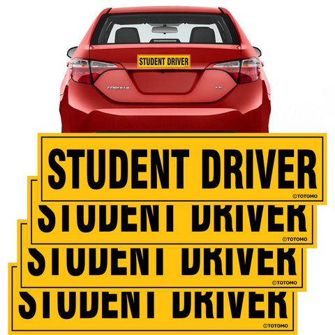 "Student Driver Magnet Sticker - (Set of 4) 12""x3"" Highly Reflective Car Safety Caution Sign Student Drivers"