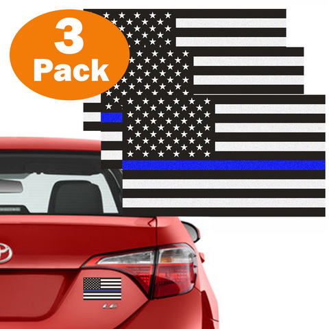 "3 Pack Blue Line USA American Flag Decal 3""x5"" Reflective Honoring Police Law Enforcement Bumper Sticker for Car truck RV SUV Jeep Wrangler Boat Window accessories"