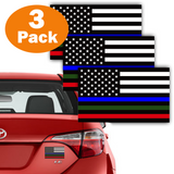 "3 Pack Blue Green Red Line USA American Flag Decal 3""x5"" Reflective Honoring Police Military Fire Officers Bumper Sticker for Car truck RV SUV Jeep Wrangler Boat Window accessories"
