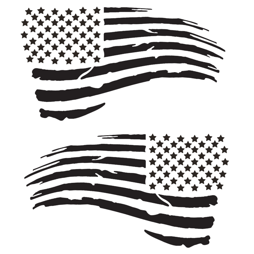 "2pc Tattered Subdued USA American Flag Decal (Matte Black 4""x7"") Distressed Tactical US Military Army Navy Vinyl Bumper Sticker Car truck RV SUV Jeep Wrangler Boat Window accessories"