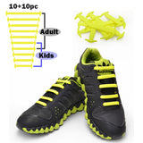 TOTOMO Unisize(20pc) No-Tie Shoe Laces Elastic Silicone Shoelaces for Kids & Adults