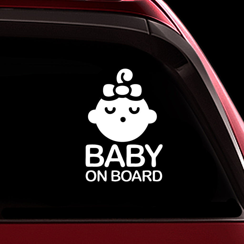 Sleeping Baby Girl - Baby on Board Sticker Decal Safety Caution Sign for Car Windows