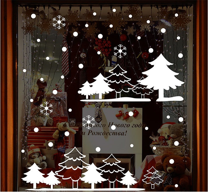 TOTOMO #W103 Christmas White Forest Window & Wall Decal Stickers