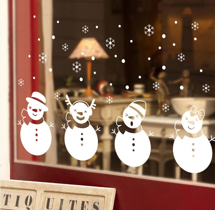 TOTOMO #W104 Four white snowbabies Christmas window decal Sticker