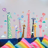 TOTOMO #W101 Giraffe family animal wall decal sticker for nursery and kids room