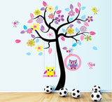 TOTOMO #W156 Owl Swing Tree Wall Decal Stickers
