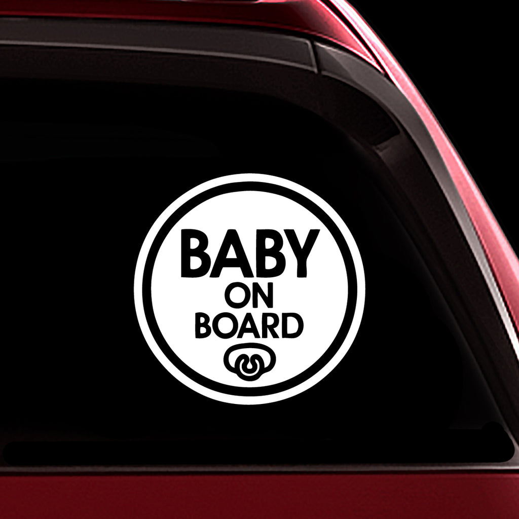 Baby Pacifier - Baby on Board Sticker Decal Safety Caution Sign for Car Windows