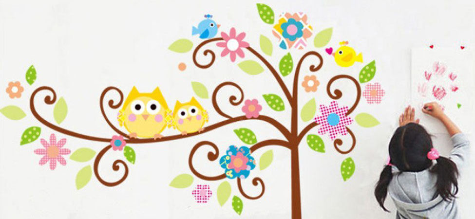 Wall Decal Stickers - Kids room, boys, girls, nursery, baby, animals, flowers, trees