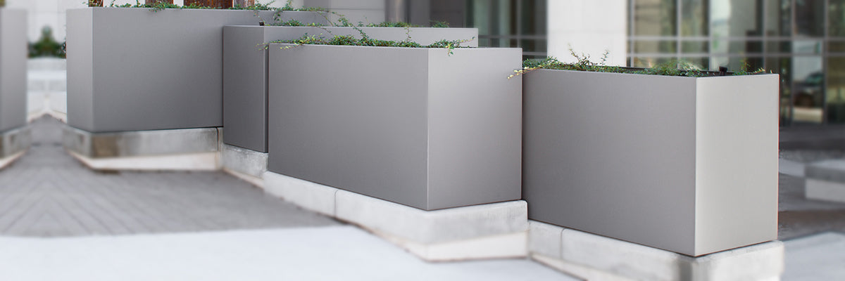 Green Theory Distributors, los angeles planters, california planters, metal planter box, aluminum box planter, aluminum window planter boxes