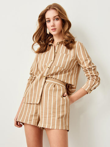 ashoreshop women beige stripe top shirt