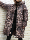 Autumn Winter Hooded Leopard Printed Loose Large Size Bubble Coat