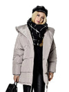 ASHORESHOP Women Down Parkas Irregular Loose Fit Bread Snow Hooded Jacket