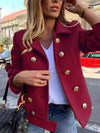 Retro solid color double-breasted woolen short coat