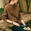 Autumn high-end cashmere sweater female half turtleneck sweater twist loose thickening lazy Jumper