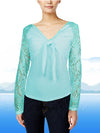 ASHORE WOMENS BOW TIE STRETCH LACE BLOUSE TOPS