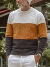 Men's Color Block Round Neck Sweater S-4XL