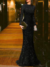 Elegant Black Round Neck Evening Dress S-3XL