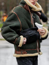 Mens Winter Suede Pile Faux Sherpa Jackets