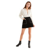 Preppy Style Rivet Black Skirts Women Zipper Back Two Pockets Female Casual Skirt