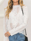 Ashoreshop women Back white Lace hollow long sleeve blouse