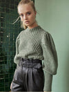 ASHORESHOP New Arrivals Womens green half-high collar puff sleeve sweater