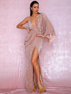 ASHORESHOP Sexy Rose Gold V-Neck Single Sleeve Shiny Sequins Draping Party Maxi Dress