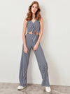 ASHORESHOP Summer 2019 Navy Striped Knit Loose Fit Pant
