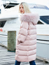 ASHORESHOP Women Pink Long Down Coat With Raccoon Fur Hood