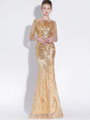 ASHORESHOP Party Sexy Mermaid Gold Evening Dress Long Half Sleeves Sequins
