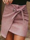 Women Asymmetrical Sash Knotted Suede Skirt