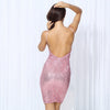 Womens Pink V-Neck Elastic Sequins Halter Bodycon Party Dress