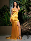 AshoreShop Gold Satin Luxury Long Evening Dress Split Leg Low Cut Sleeveless Gown