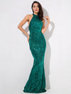 AshoreShop Mermaid Sequin Elegant Long Sleeveless Evening Dress Shimmering Color